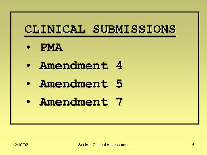 CLINICAL SUBMISSIONS