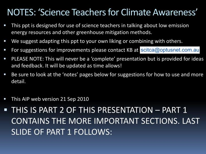notes science teachers for climate awareness n.