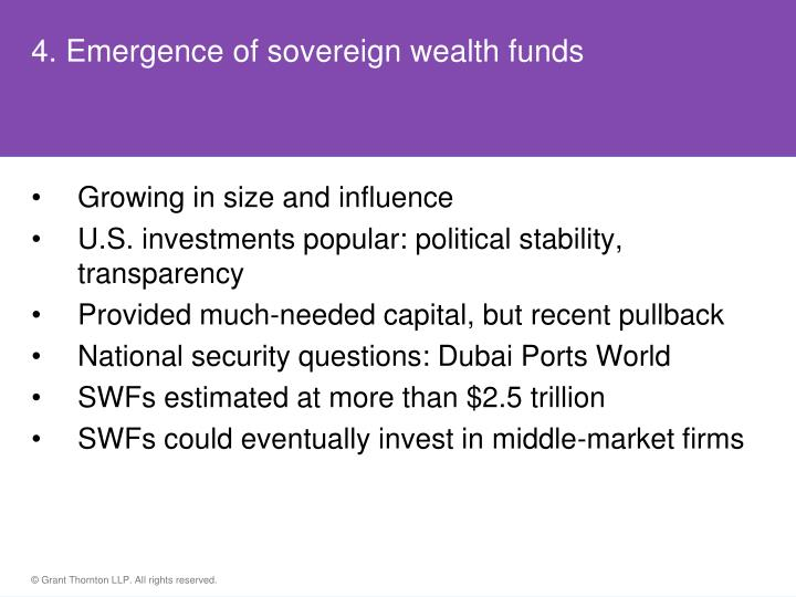 4. Emergence of sovereign wealth funds