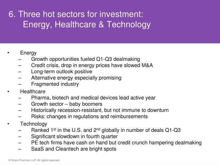 6. Three hot sectors for investment: