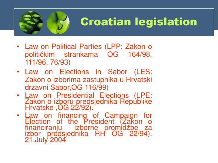 Law on Political Parties (LPP: Zakon o političkim strankama OG 164/98, 111/96, 76/93)