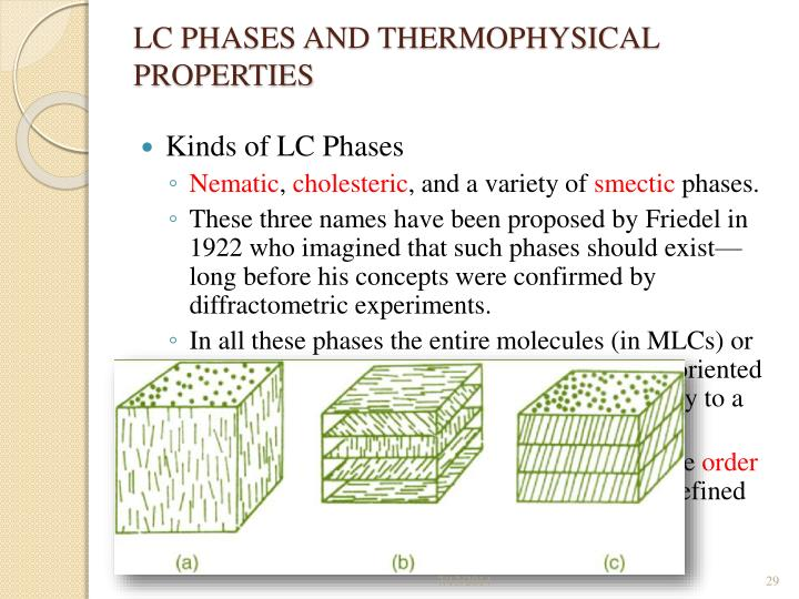 LC PHASES AND THERMOPHYSICAL PROPERTIES