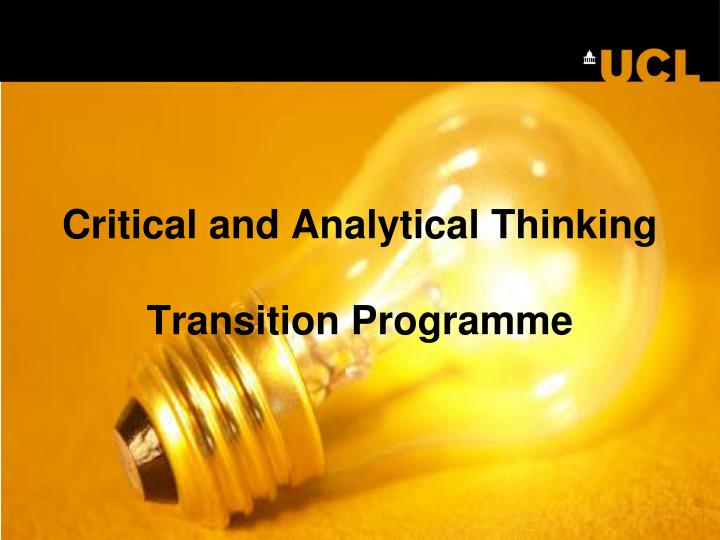 critical and analytical thinking transition programme n.