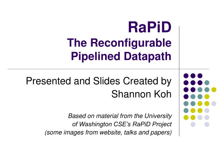 rapid the reconfigurable pipelined datapath n.