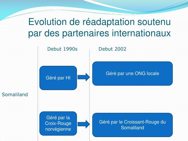 Evolution de réadaptation soutenu par des partenaires internationaux