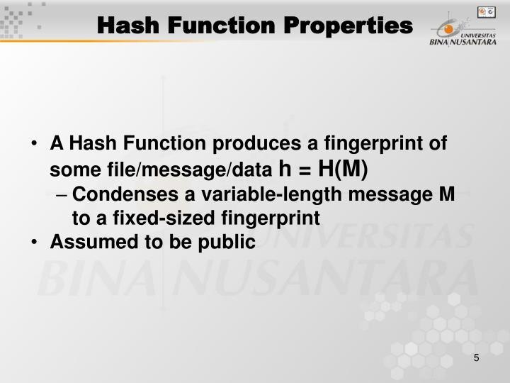 Hash Function Properties