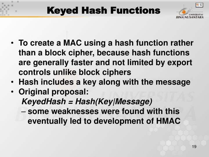 Keyed Hash Functions
