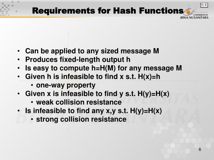 Requirements for Hash Functions