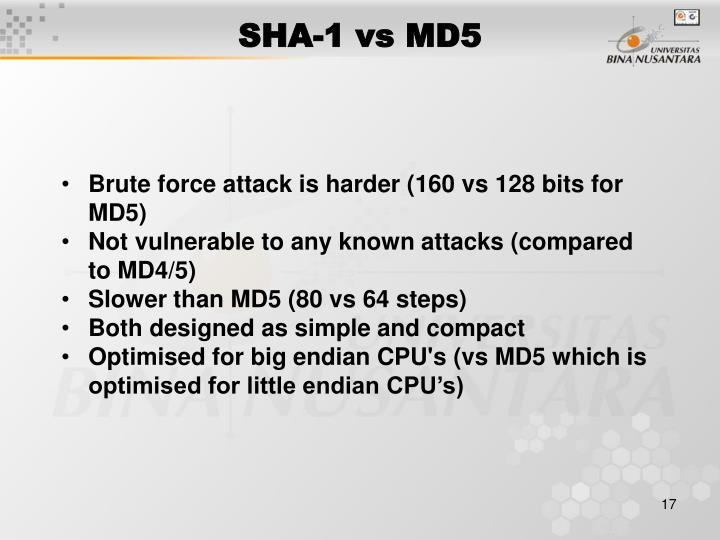 SHA-1 vs MD5