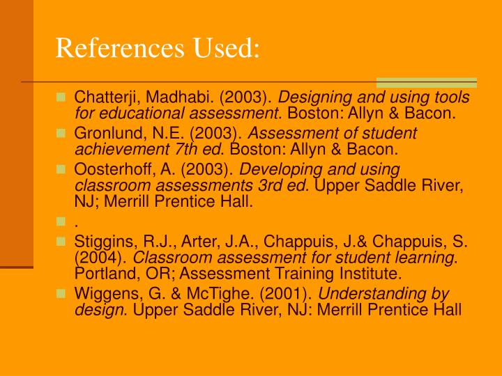References Used: