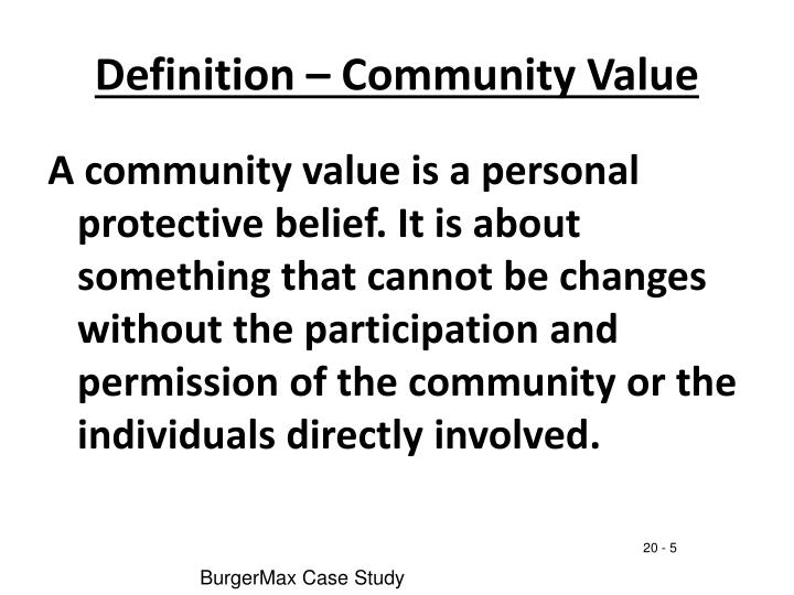 Definition – Community Value