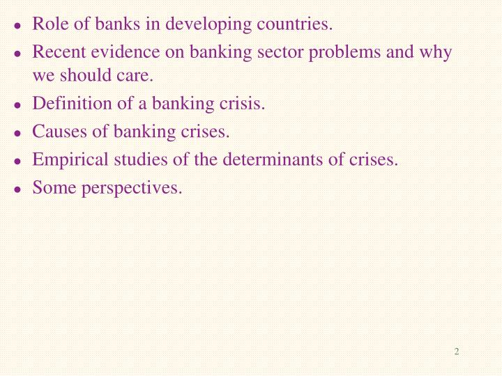 banking crises and crisis dating theory and evidence Section 3 confronts these sets of crises dates with data on bank failures and bank losses for four crises: the savings and loan crisis in the united states, the banking crisis during the 1990s in japan, the banking crisis in norway, and the crisis in turkey during the late 1990s the final section offers our conclusions.