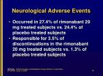 neurological adverse events1