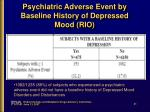 psychiatric adverse event by baseline history of depressed mood rio