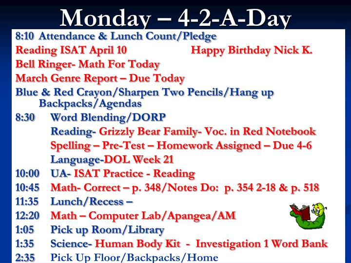 monday 4 2 a day n.