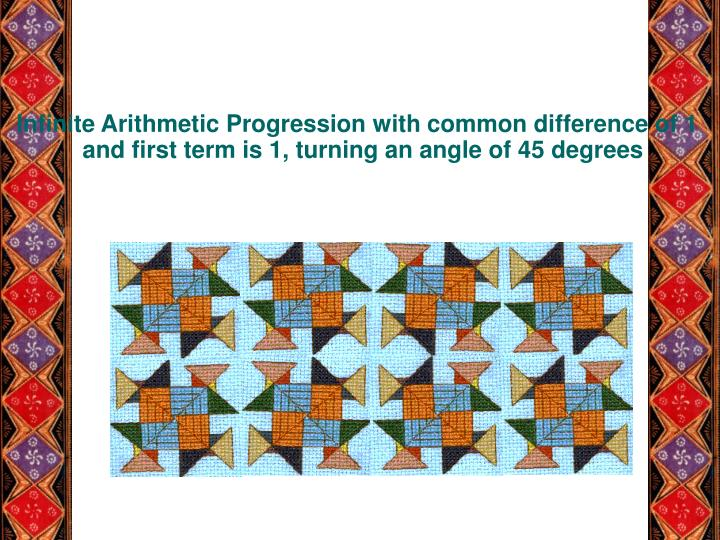 Infinite Arithmetic Progression with common difference of 1 and first term is 1, turning an angle of 45 degrees