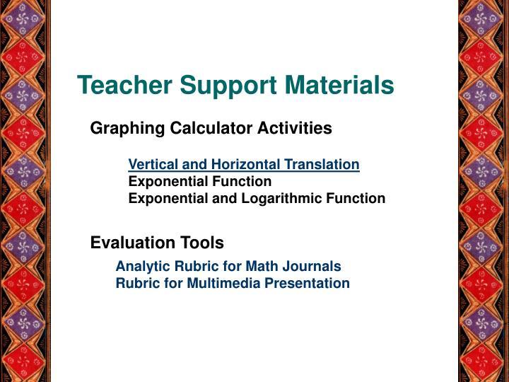 Teacher Support Materials