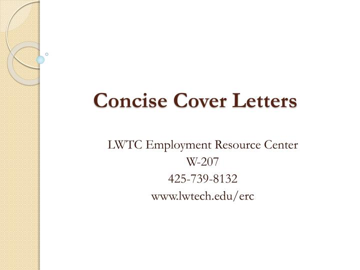 PPT - Concise Cover Letters PowerPoint Presentation - ID:1745489