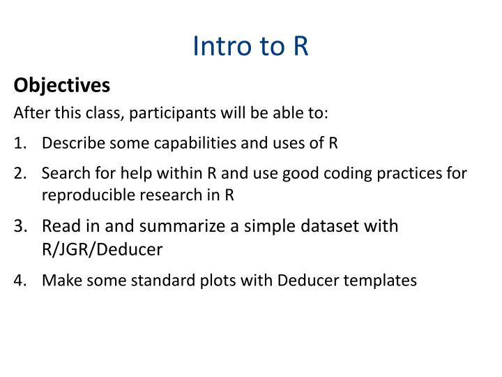 Intro to r