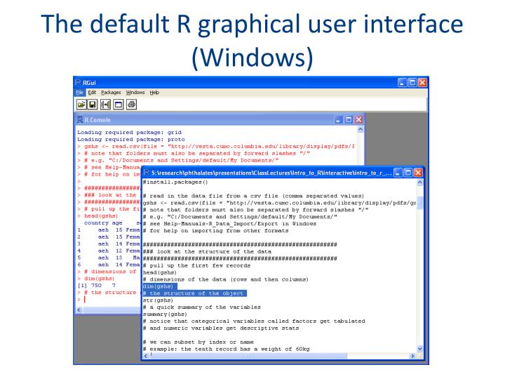 The default R graphical user interface (Windows)