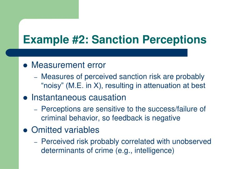 Example #2: Sanction Perceptions