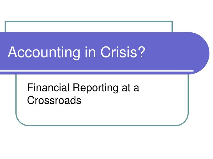 accounting in crisis n.