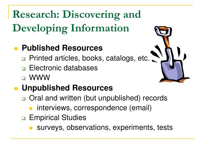 Research discovering and developing information