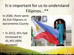 it is important for us to understand filipinos