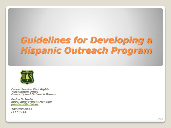guidelines for developing a hispanic outreach program n.