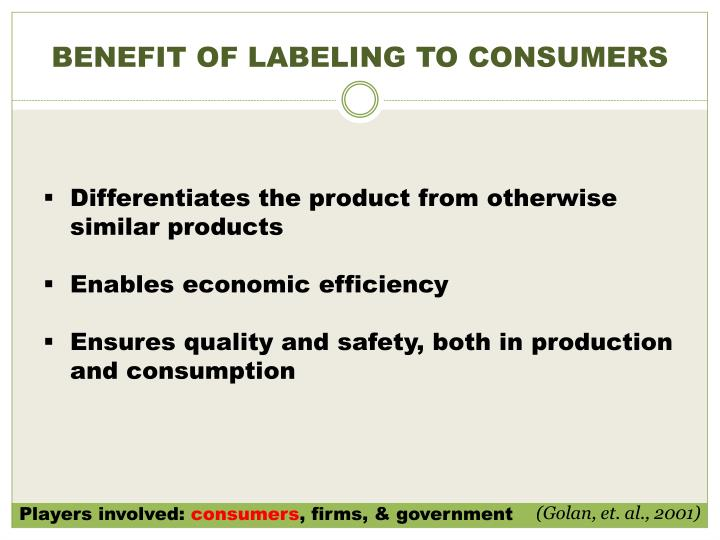 BENEFIT OF LABELING TO CONSUMERS