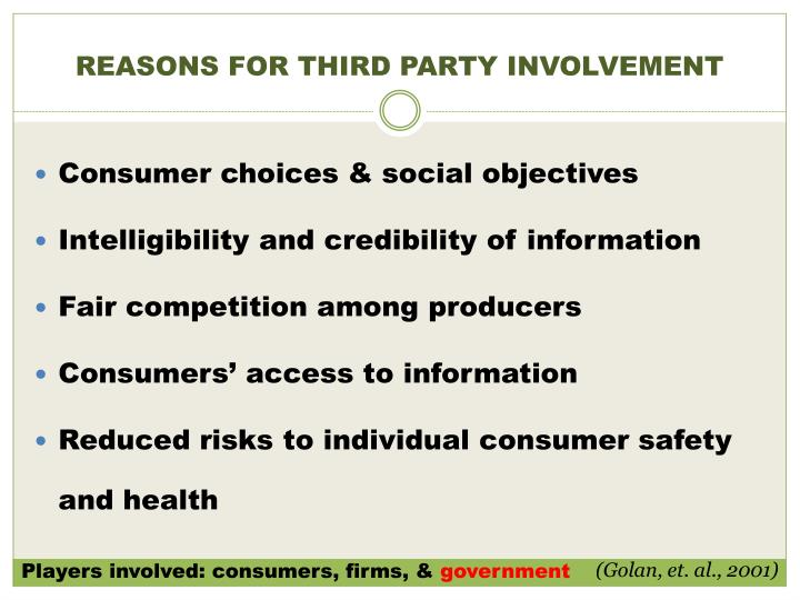 REASONS FOR THIRD PARTY INVOLVEMENT