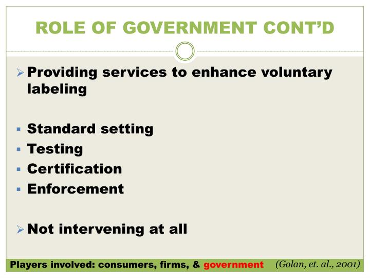 ROLE OF GOVERNMENT CONT'D