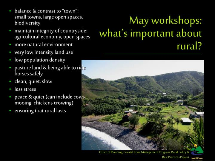 may workshops what s important about rural n.