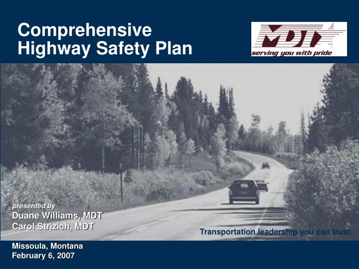 comprehensive highway safety plan n.