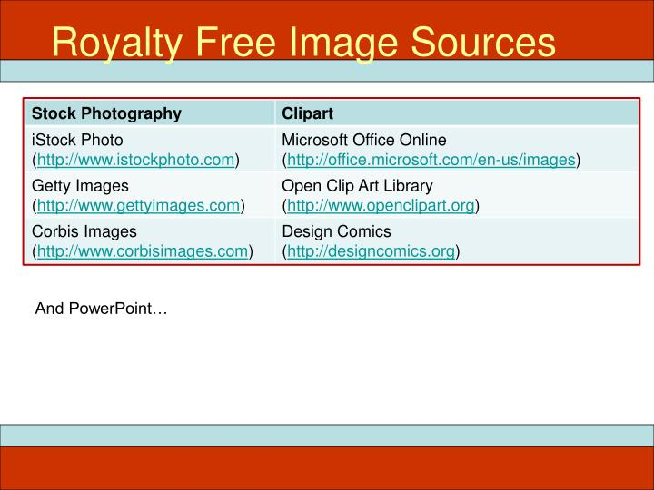 Royalty Free Image Sources
