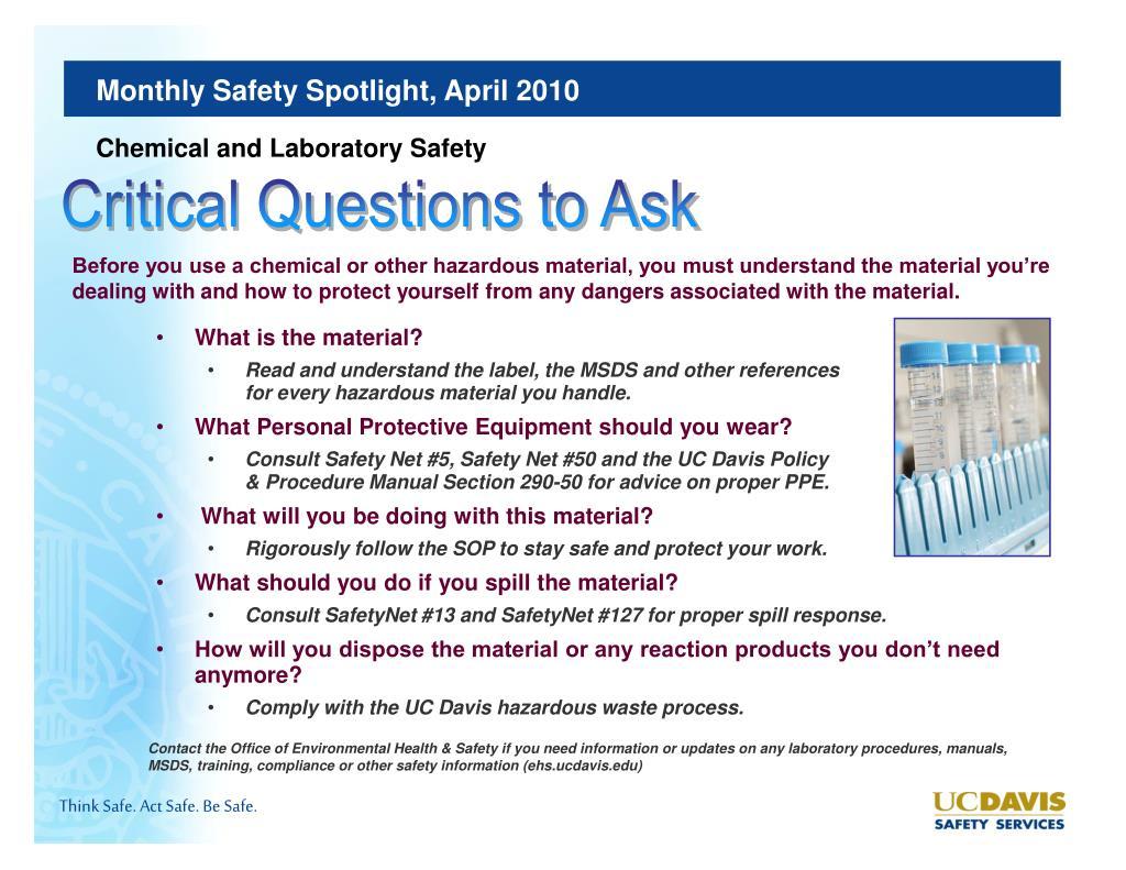 PPT - UC Davis Safety Services Monthly Safety Spotlight April 2010