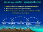 you as a counsellor personal reflection