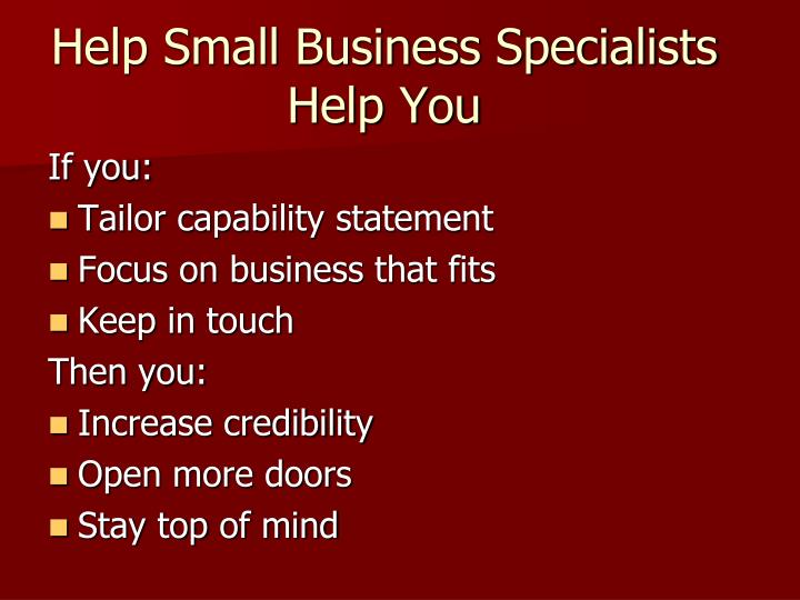 Help Small Business Specialists