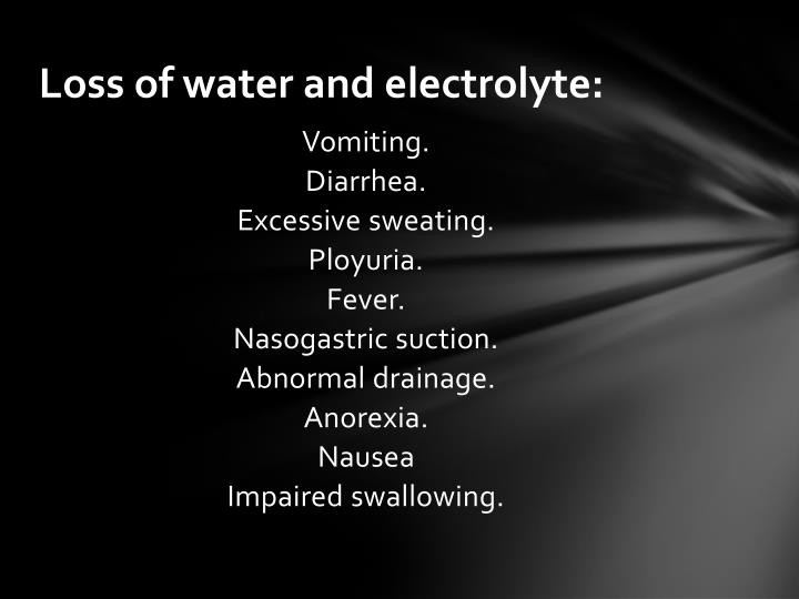 Loss of water and electrolyte: