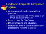 lundbeck s corporate compliance program