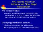 oig potential area of risk kickbacks and other illegal remuneration