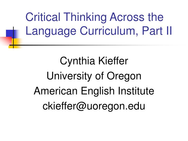 critical thinking part one The state of critical thinking is a 5 part blog series were we share findings from students on what critical thinking means and look like for them today.