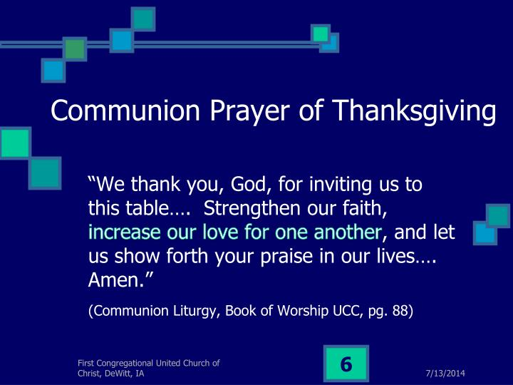 Communion Prayer of Thanksgiving
