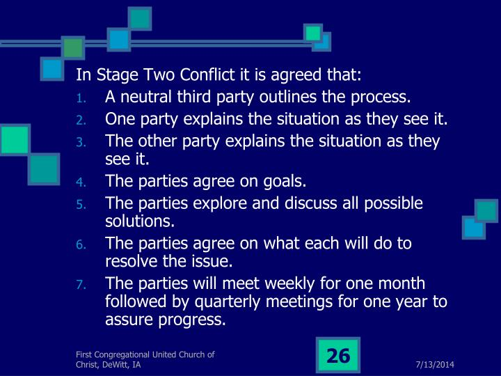 In Stage Two Conflict it is agreed that: