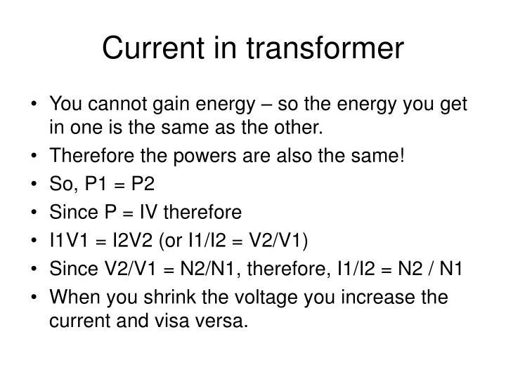 Current in transformer