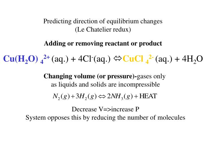 Predicting direction of equilibrium changes