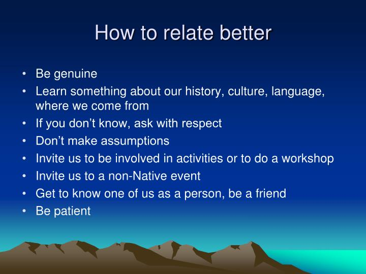 How to relate better