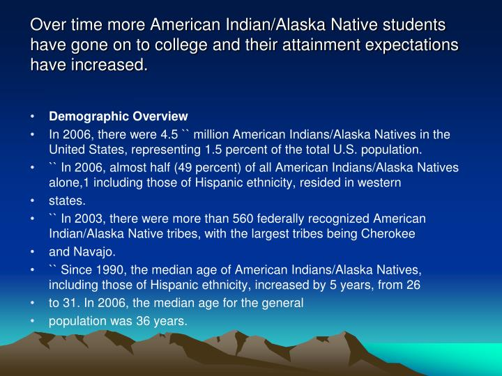 Over time more American Indian/Alaska Native students have gone on to college and their attainment expectations have increased.