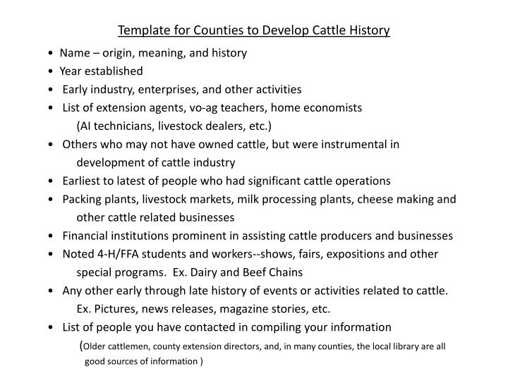 template for counties to develop cattle history n.
