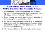 cumulative risk what is it opp s guidance for pesticide actives